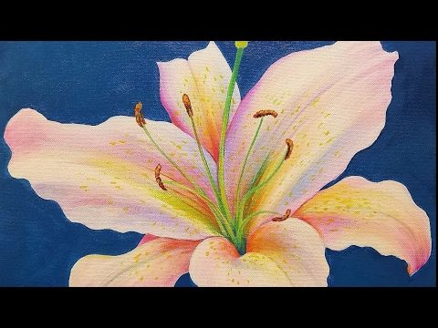 Lily acrylic painting tutorial live step by step flower for Painting flowers in acrylic step by step