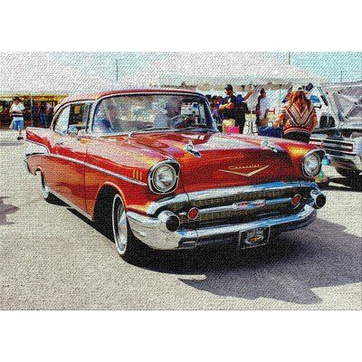 East Urban Home Classic Cars 5 Red Area Rug Rug Size: Rectangle 3′ x 5′