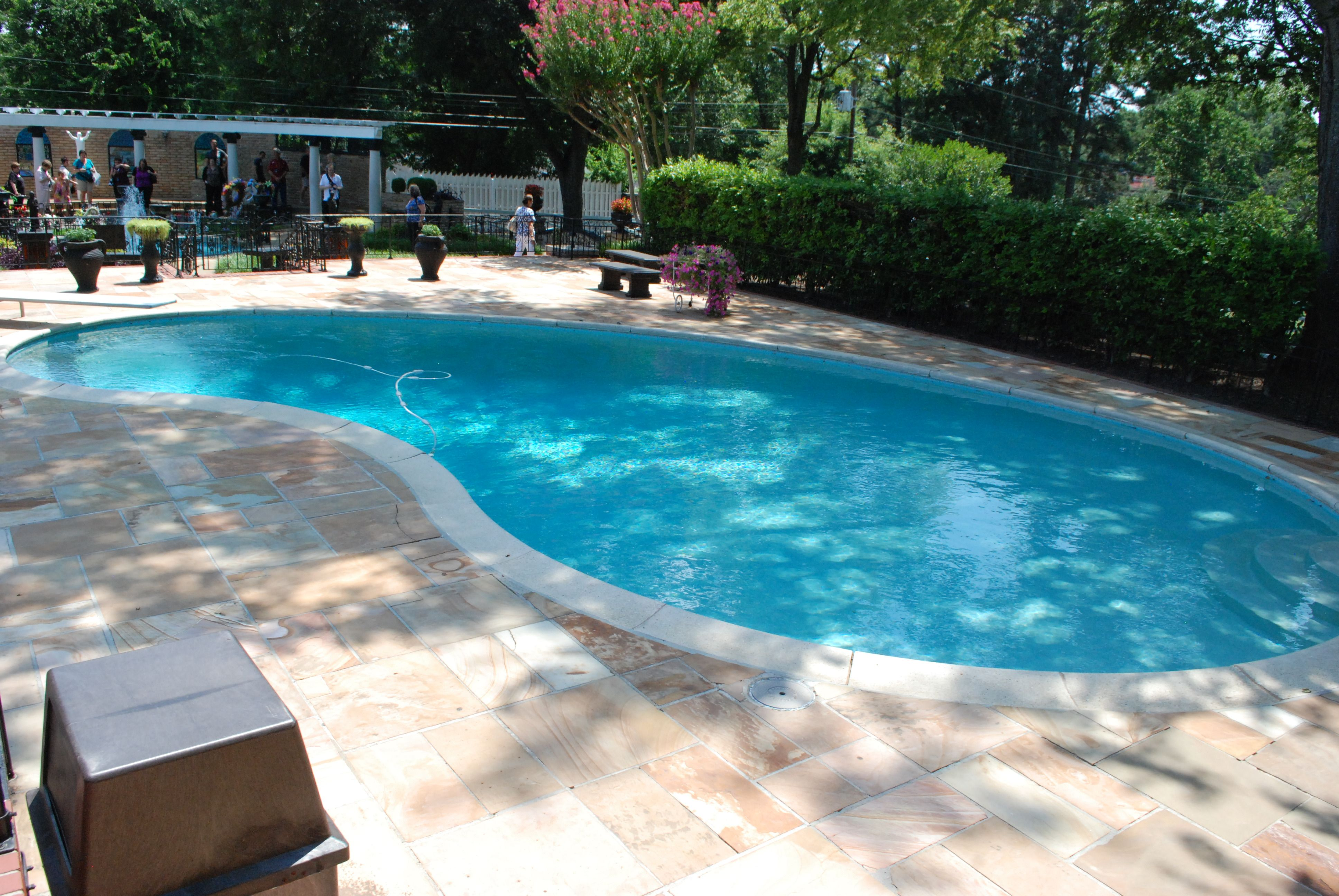 Buckingham Swimming Pool >> In June of 1957 Elvis had a swimming pool installed at Graceland, the shape of the pool Ki ...