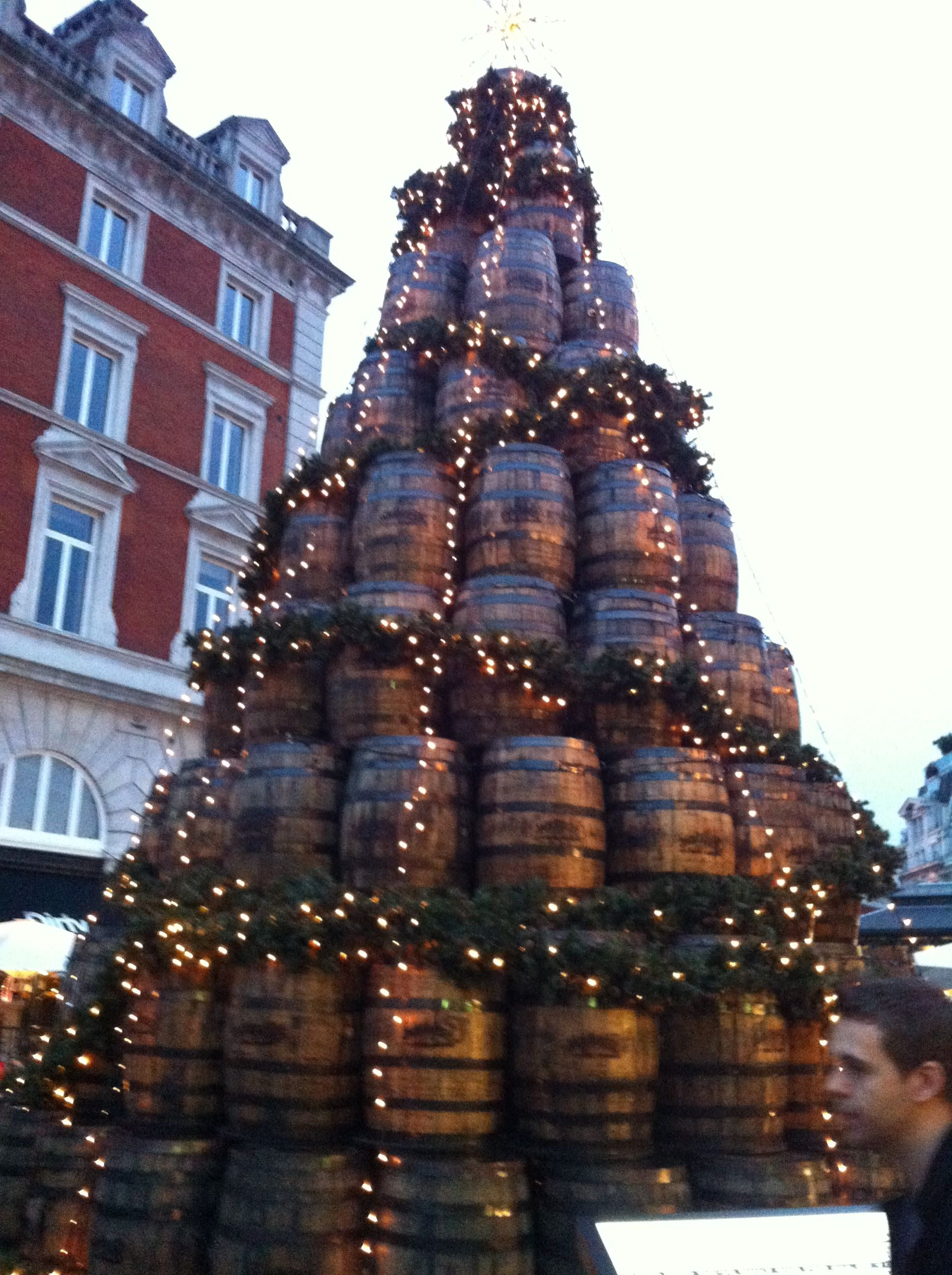 The Christmas barrel tree in Covent Garden, London