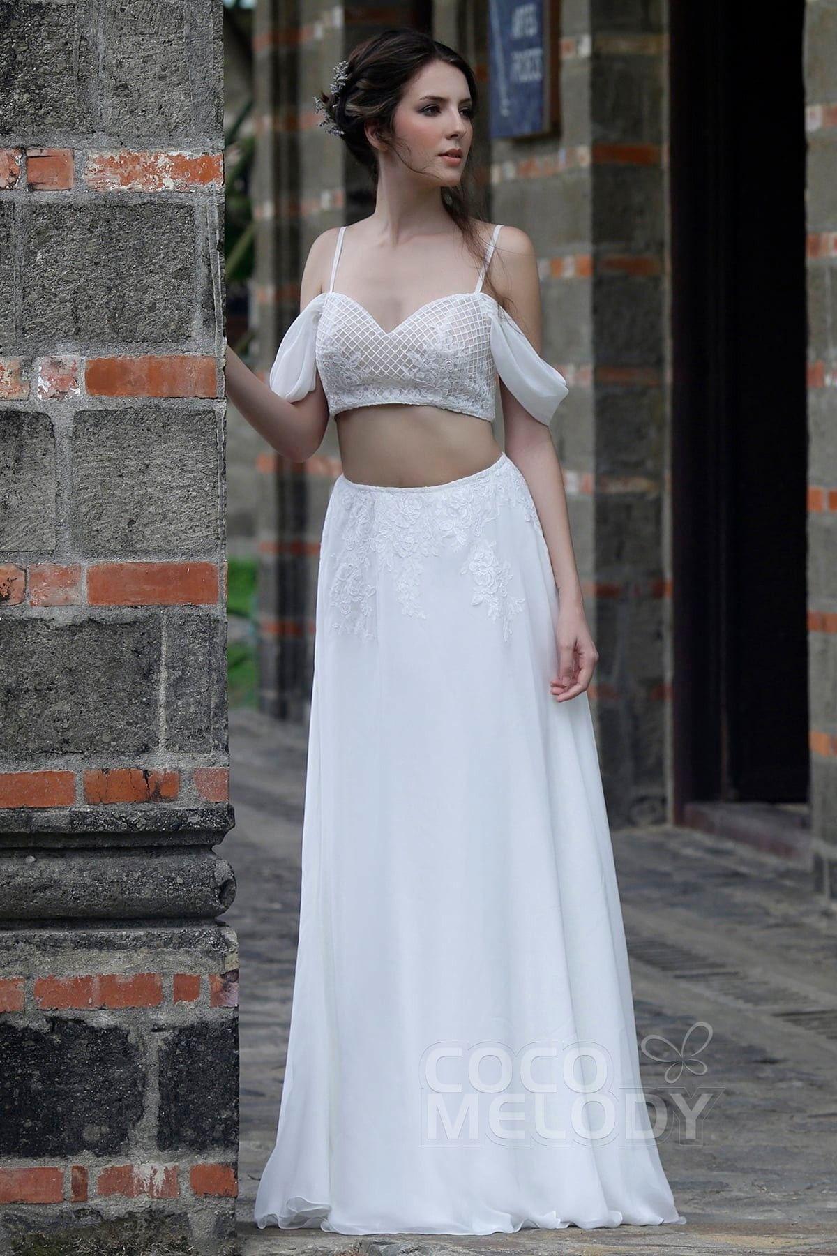 Usd 699 Crop Top Train Tulle Chiffon Wedding Dress Ld5362