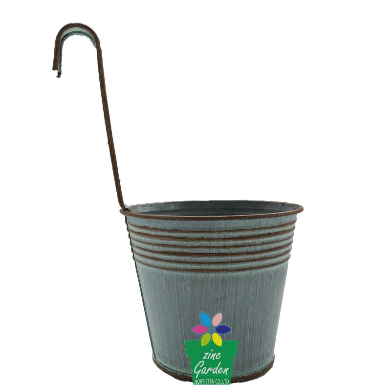 High Quality Wholesale Balcony Garden Pail Handmade Hanging Metal Flower Pot