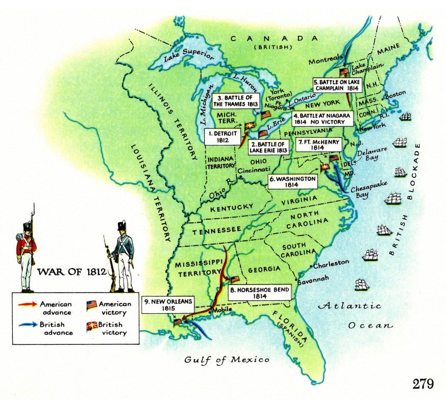 Maps Of 1812 War In USA Second War Of Independence Between - Map Of The Us And Britain