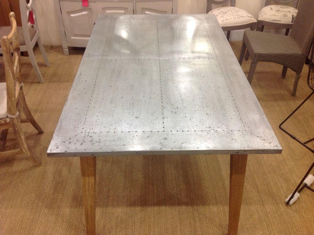 Designer Brand Zinc Top Dining Table With Weathered Oak Frame Medium 160cm In Home Furniture Diy Fur Dining Table Contemporary Dining Table Weathered Oak