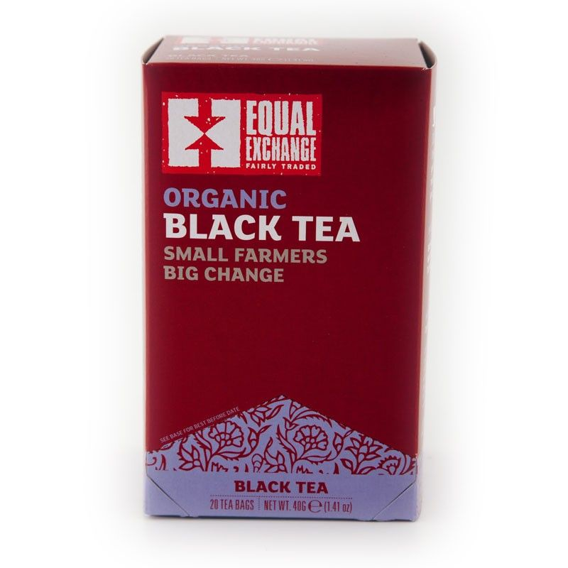 $4.50 Fair Trade and Organic Black Tea | Equal Exchange. 20 Tea Bags   Aroma: honeyed dates, orange, floral  Flavor: sweet, dark dried fruits, bright astringency, lemon, round and sparkly   Instructions: Bring water to boil (212F). Steep for 3-5 minutes.