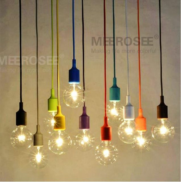 Colorful e27 socket pendant light suspension drop lamp for Suspension cuisine retro