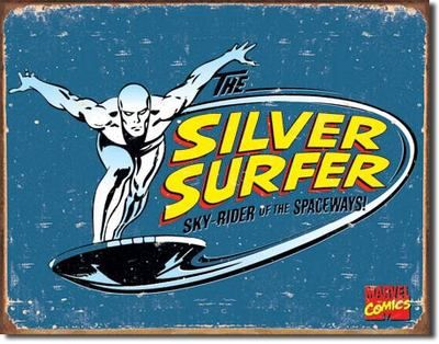 New Tin Sign Vintage Silver Surfer Cartoon Retro Super Hero Home Media Room   eBay