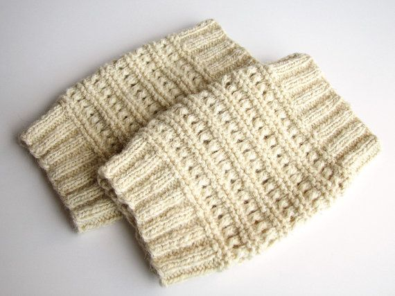 Lace wool knee warmers Organic hand knitted women boot cuffs