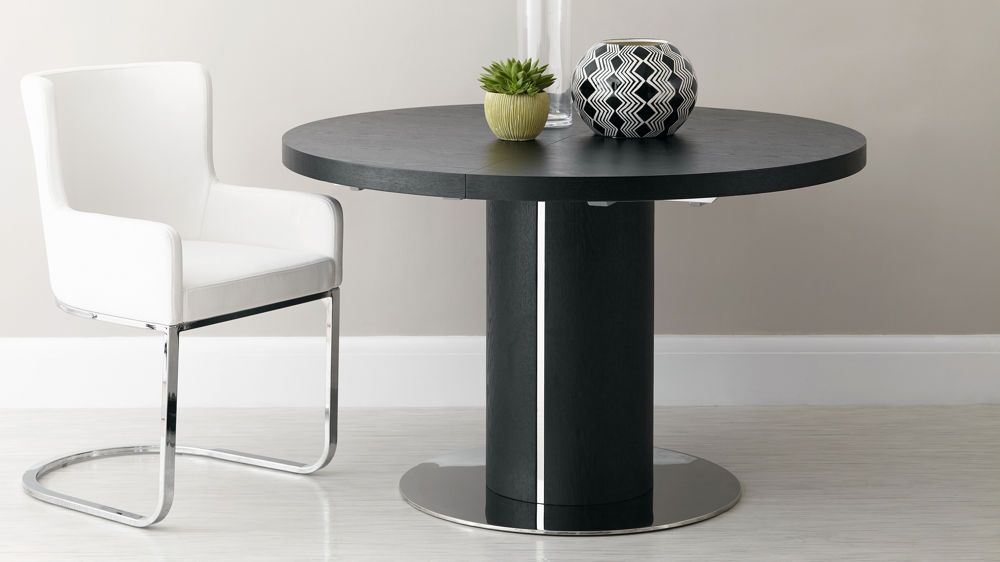 Curva Round Black Ash Extending Dining Table Extendable Dining