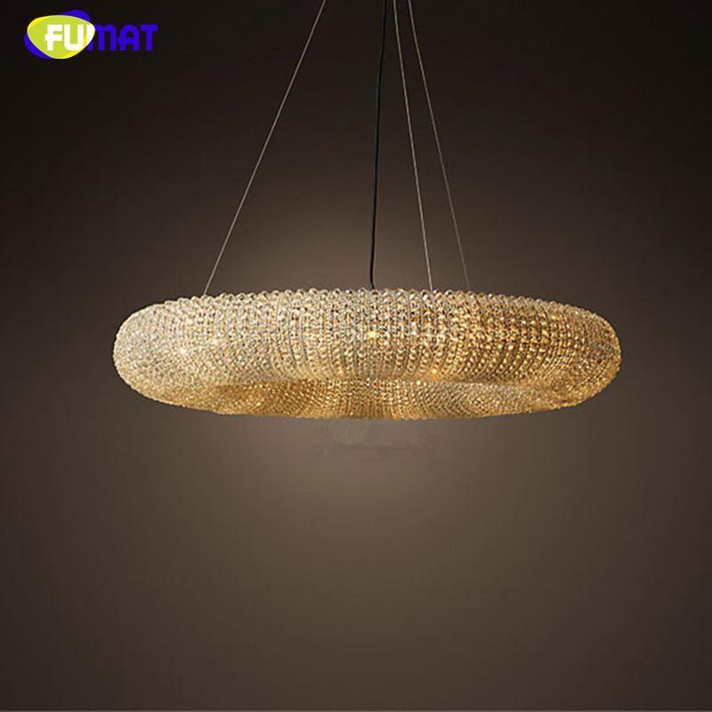 Fumar Torus Crystal Pendant Lights Lustre De Cristal Led K9 Crystal Loft Brief Cord Suspension Lamps Living Room Pendant Lights Halo Chandeliers