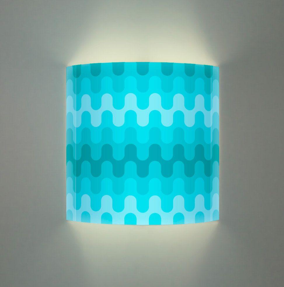 Kids Bath Art Light wall lamp - Aqua waves pattern. Glowing wall art ...