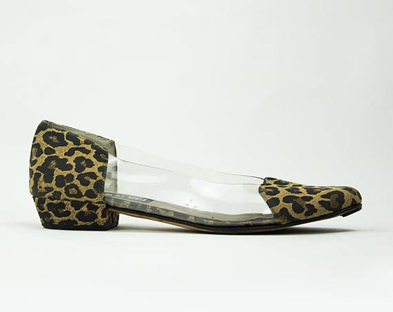 ff1f018b7228e 90s cheetah print perspex clear avant garde flat US 7.5 | Products ...