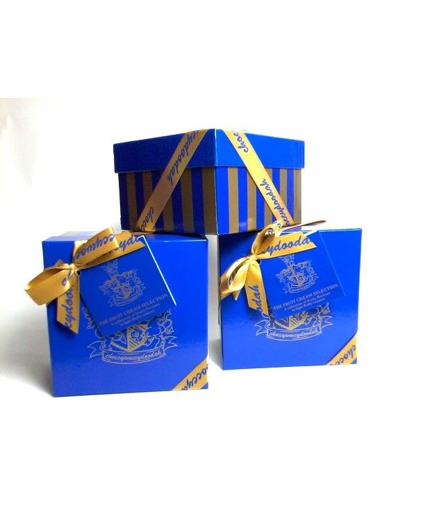 Luxury fruit creams - This is our delicious fruit cream selection   Presented in a lovely blue and gold presentation box  Box of 16 truffles weighs approximately 330g
