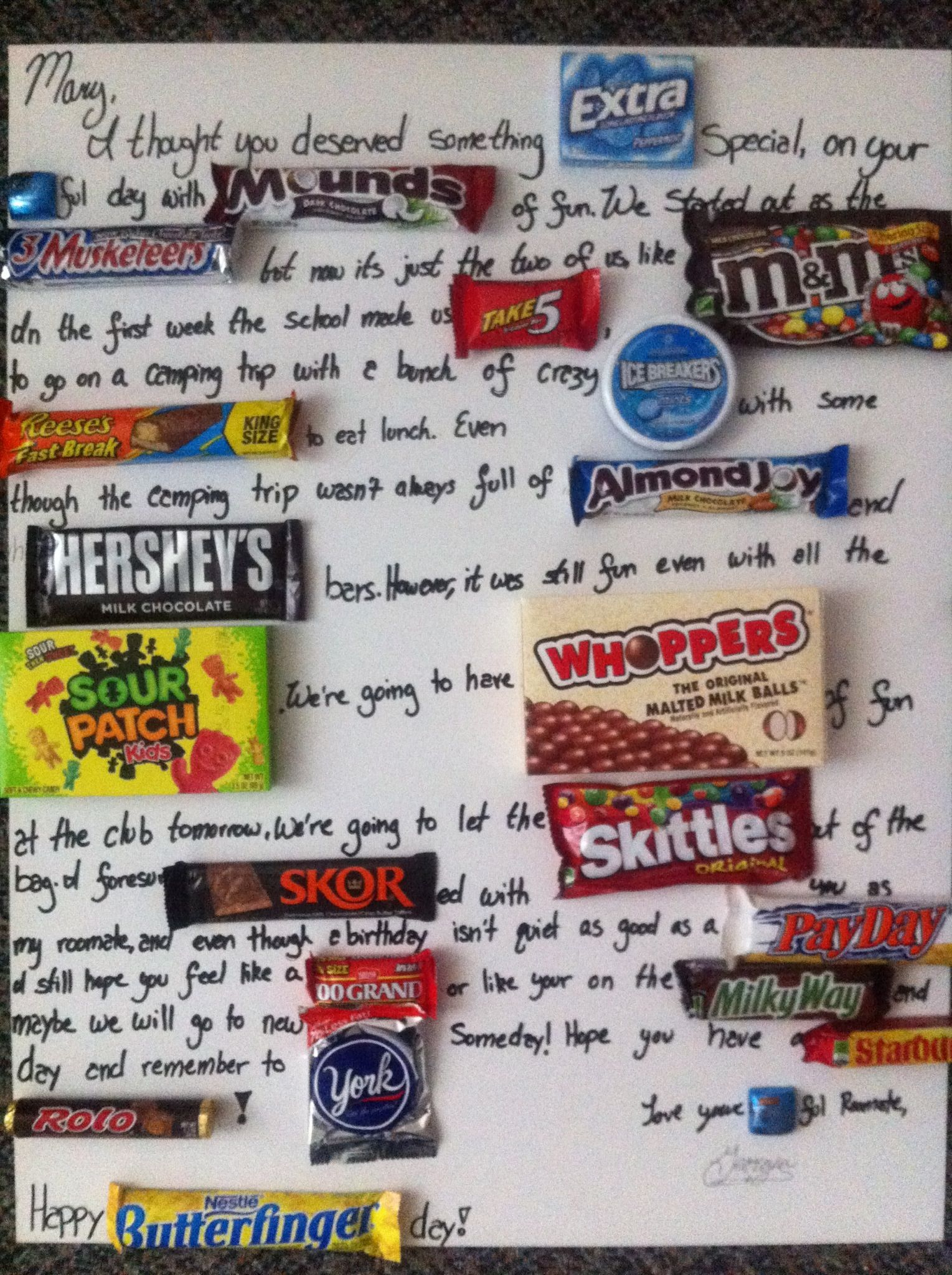 cute poster board birthday candy poster