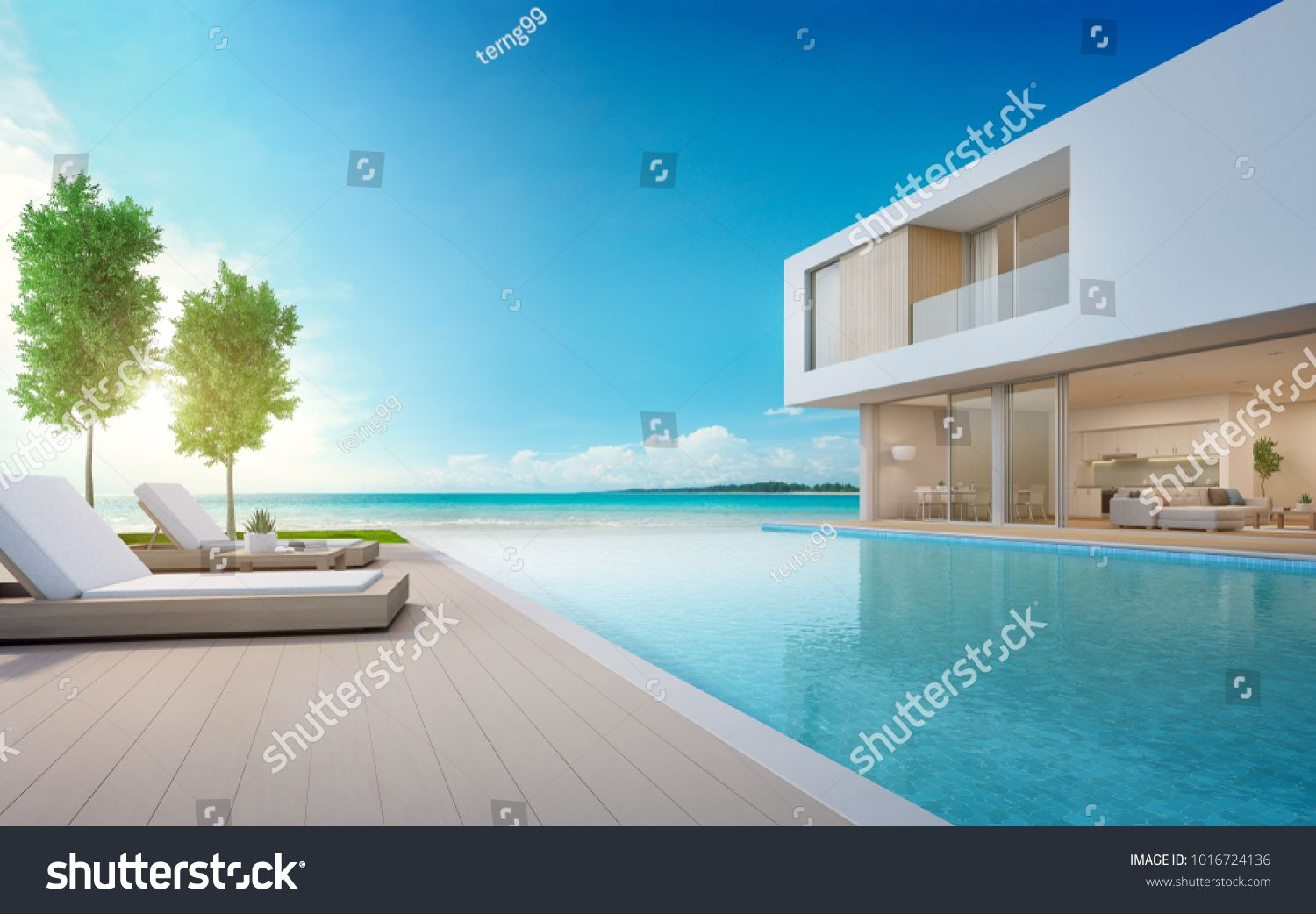 Luxury Beach House With Sea View Swimming Pool And Terrace In Modern Design Lounge Chairs On Wooden Floo Luxury Beach House Rental Property Modern Style Homes