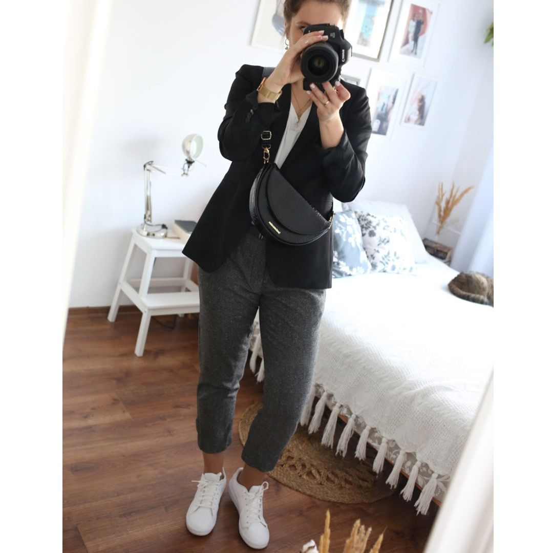 Wool Pants And White Sneakers Outfits My Outfit Capsule Wardrobe