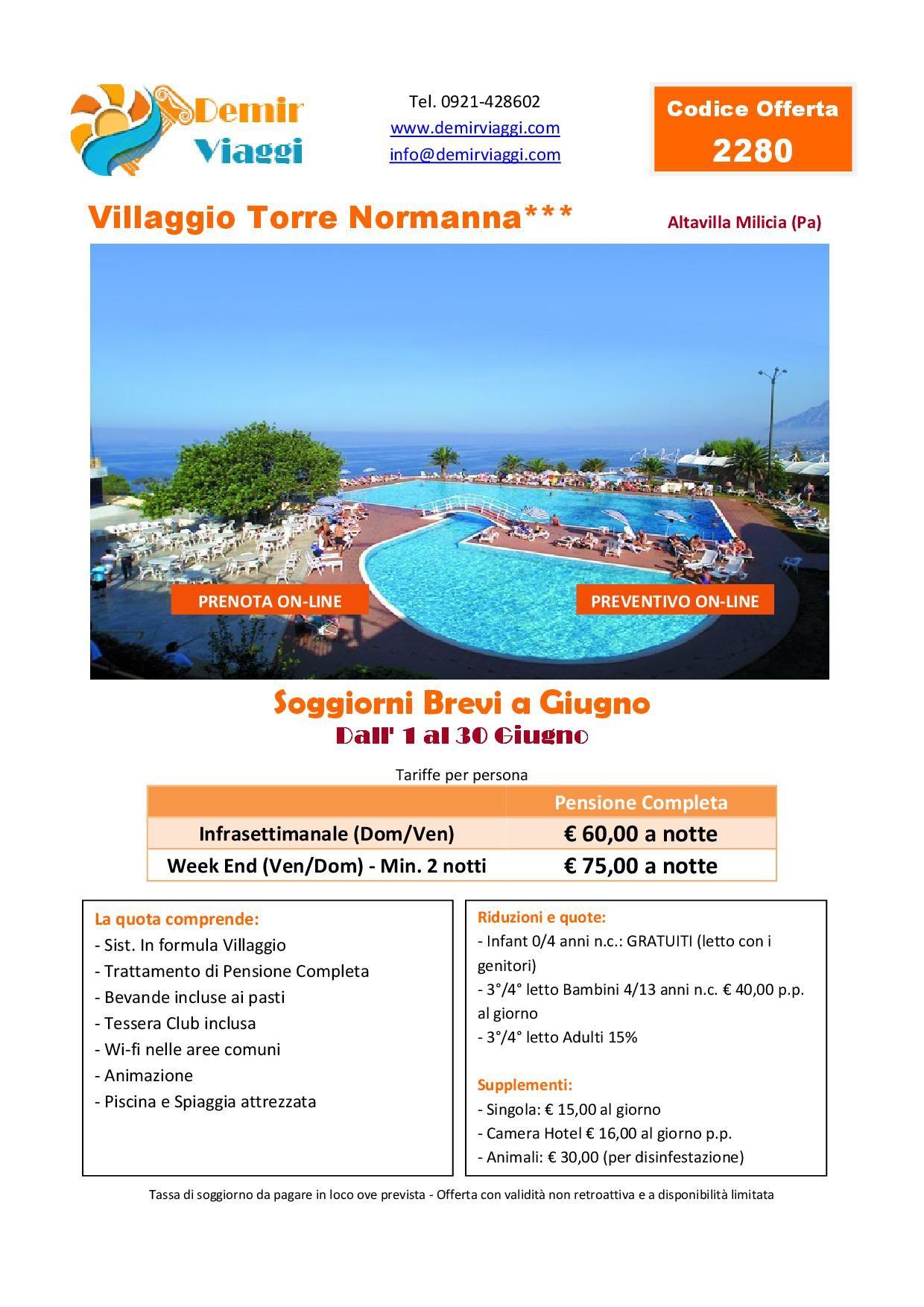 Villaggio Torre Normanna*** - Altavilla Milicia Soggiorni Brevi ...