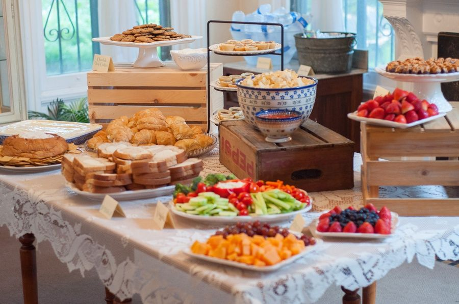 Laurenwphotography My Bridal Shower Food Table Display Crates Cake Stands Party Entertaining