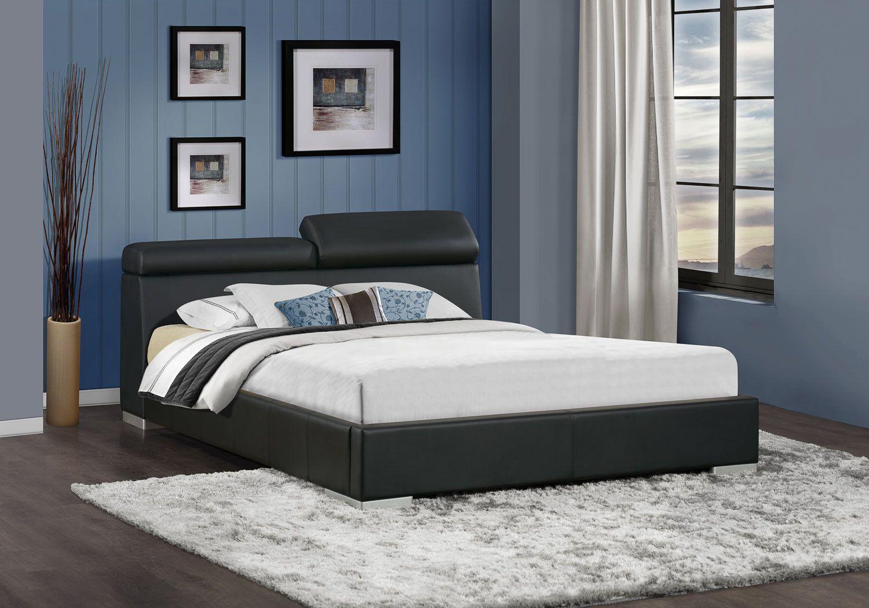 Metallbett schwarz 90x200  Un pat cu design masculin, din imitație de piele maro și lemn ...