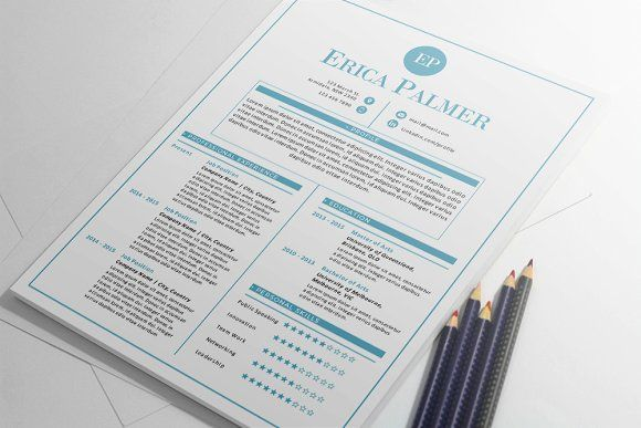Aqua docx resume + cover letter by Inkpower on @creativemarket - Simple Format For Resume