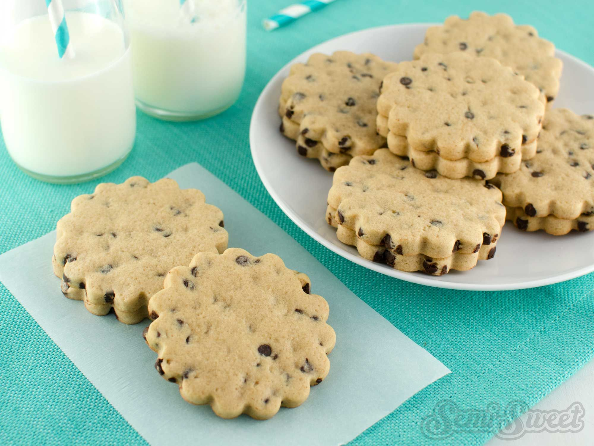 Perfect, no spread, chocolate chip cookie roll-out recipe for cutout cookie cutters.