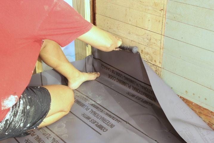 Installing A Pvc Shower Liner With Images Shower Pan Liner