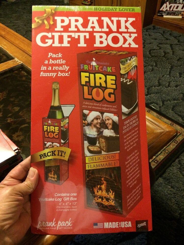 Fruitcake fire log prank fake gag gift box for the holiday