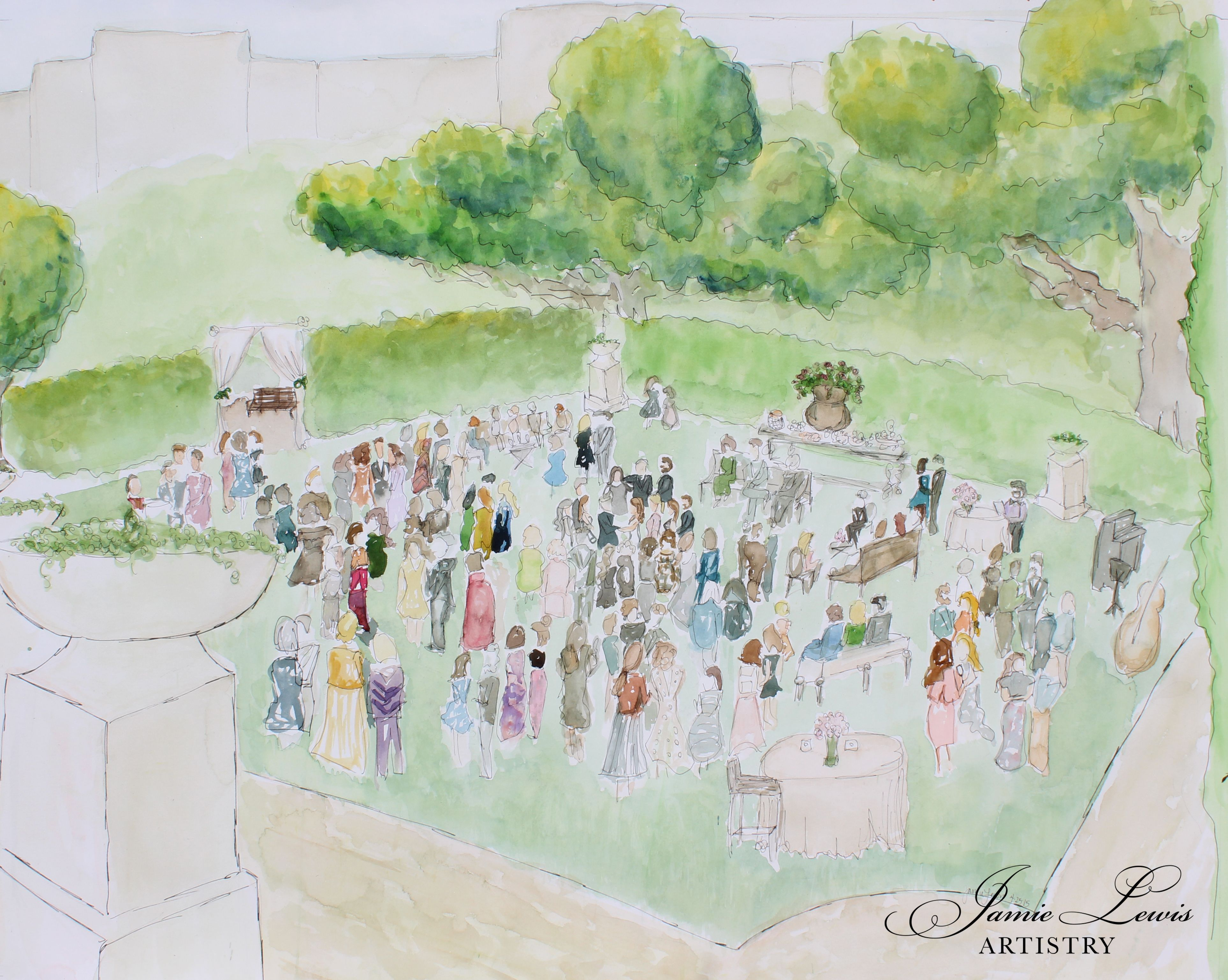 Watercolor art society houston tx - Herrman Park Celebration Garden Live Painting Watercolor Wedding Portrait Painted Live For The Guests To
