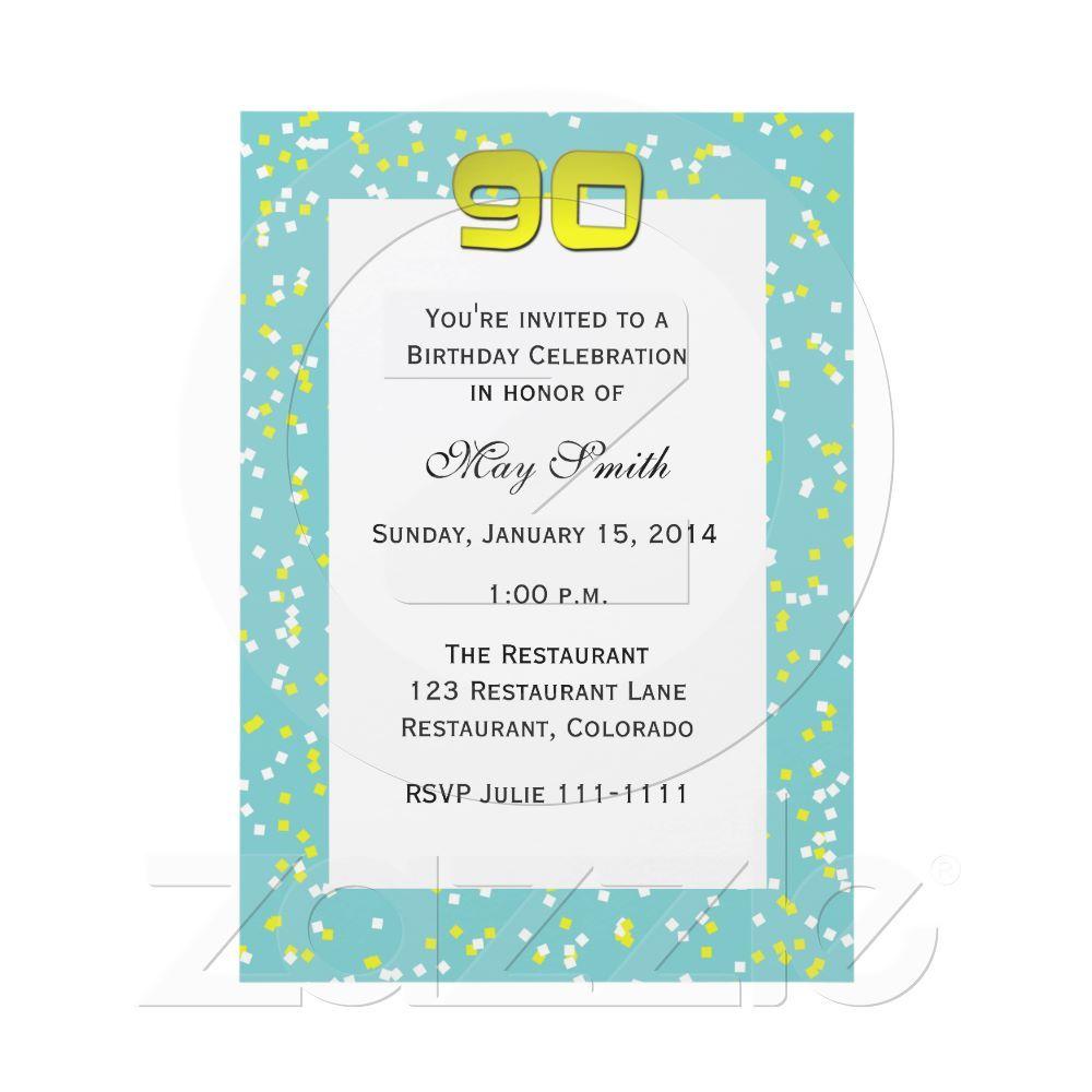 90th Birthday Invitation Confetti | Pinterest | 90th birthday ...
