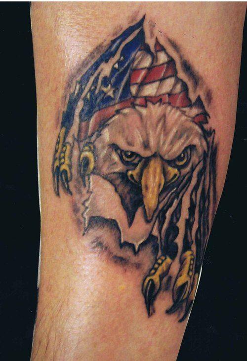 Eagle With American Flag Tattoo : eagle, american, tattoo, Eagle, American, Tattoo,, Tattoos