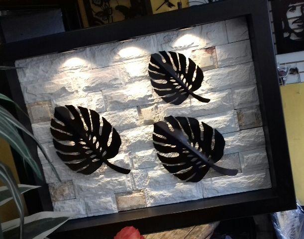 Lampara cuadro pared diseñado en madera mdf y piedra cantera ...