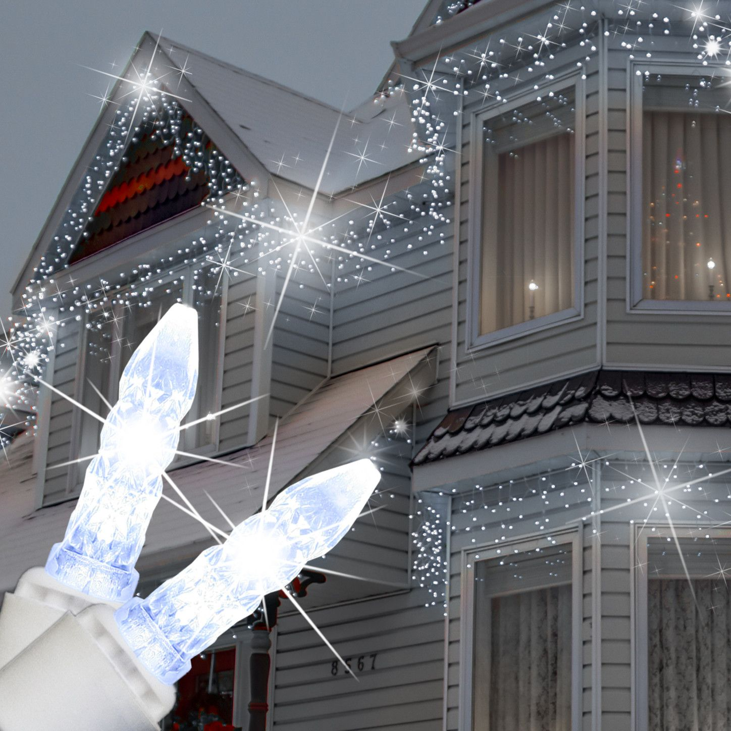 Led Christmas Lights White.M5 Cool White Twinkle Led Icicle Lights