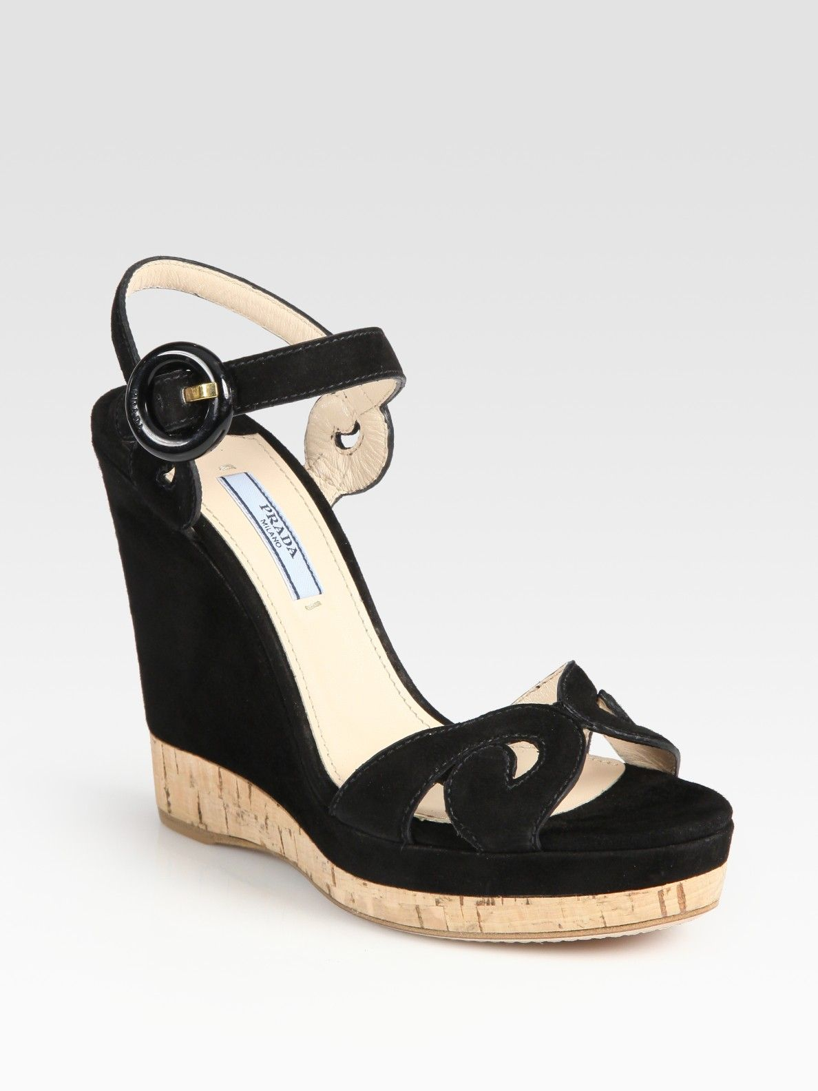 f4711f18ae8e Prada Suede and Cork Wedge Sandals in Black