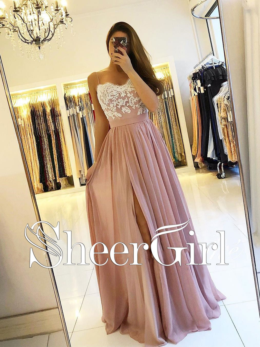 e278f7a213b Spaghetti Strap Dusty Rose Prom Dresses with Slit Cheap Lace Bodice ...