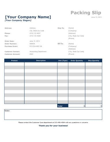 Packing slip with quantities for excel Packing List Template - packing slip