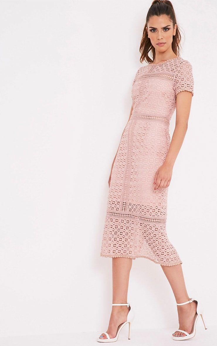 Midira Dusty Pink Crochet Lace Midi Dress ...
