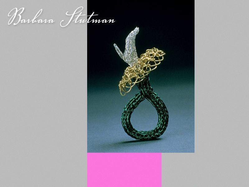 Impaired. 22k gold, fine silver, coloured copper wire. Spool knit ...