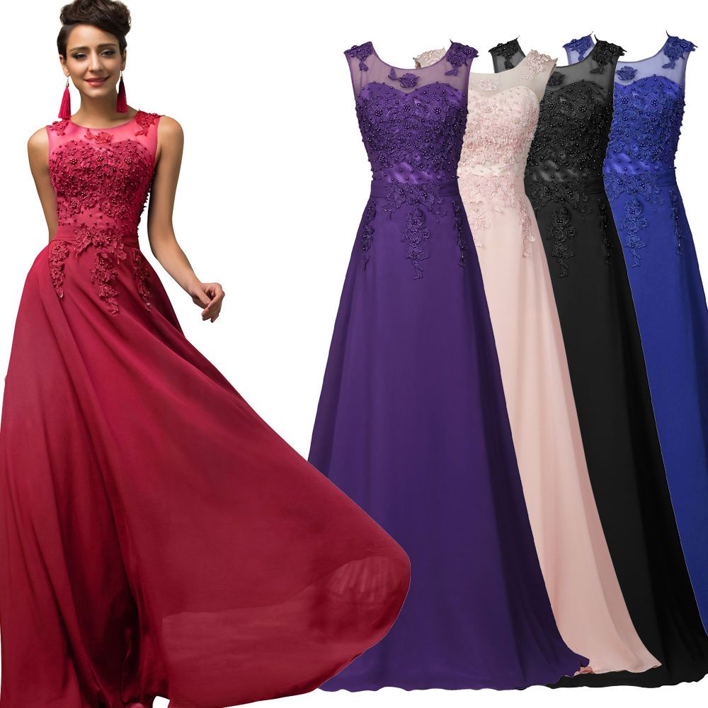 Womens Long Evening Bridesmaid Lace Formal Ball Gown Party Cocktail Prom Dresses