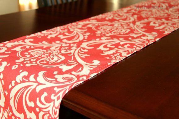 Premier Prints Table Runner Coral Ozborne Damask  by Modernality2, $19.95