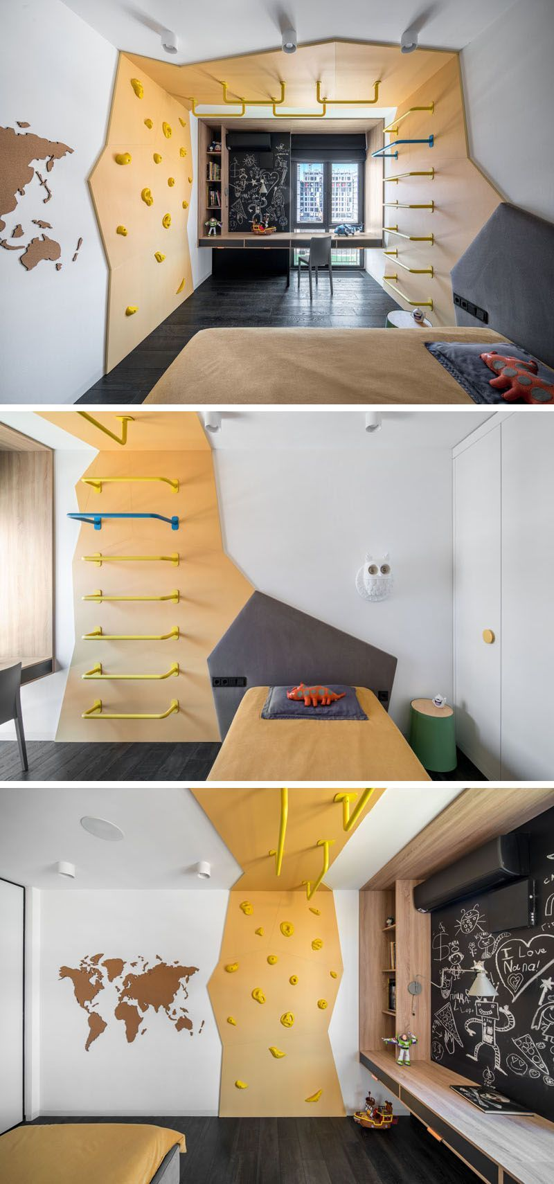 This modern kids bedroom has a custom climbing feature that wraps