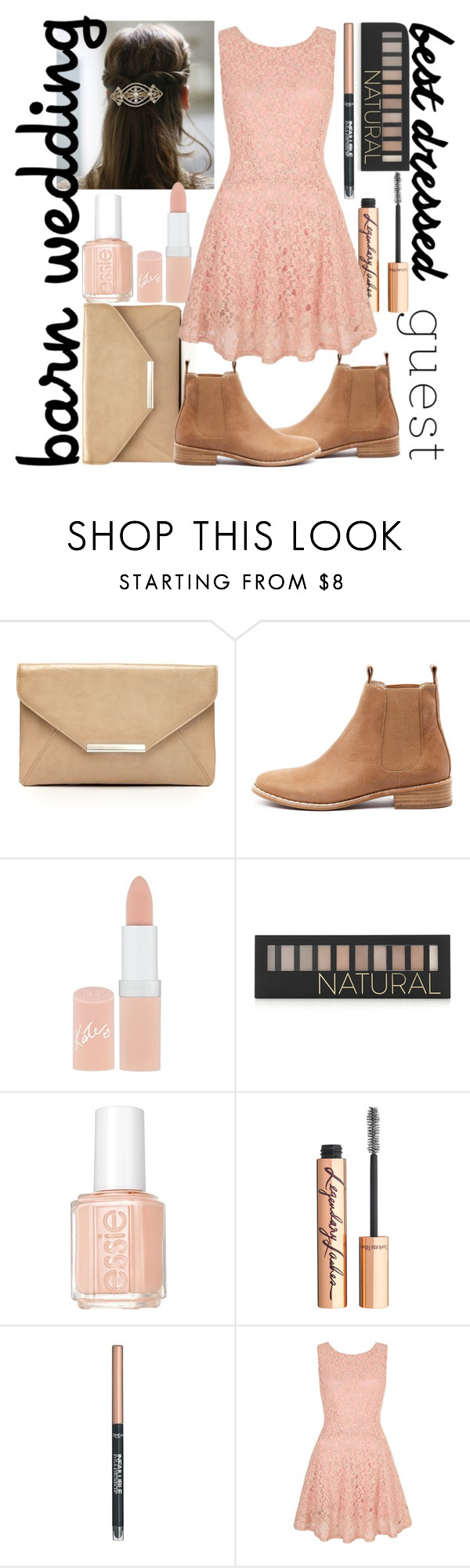 """Barn Wedding"" by monochromedivine ❤ liked on Polyvore featuring Style & Co., Mollini, Rimmel, Forever 21, Essie, Charlotte Tilbury, L'Oréal Paris, Yumi, bestdressedguest and barnwedding"