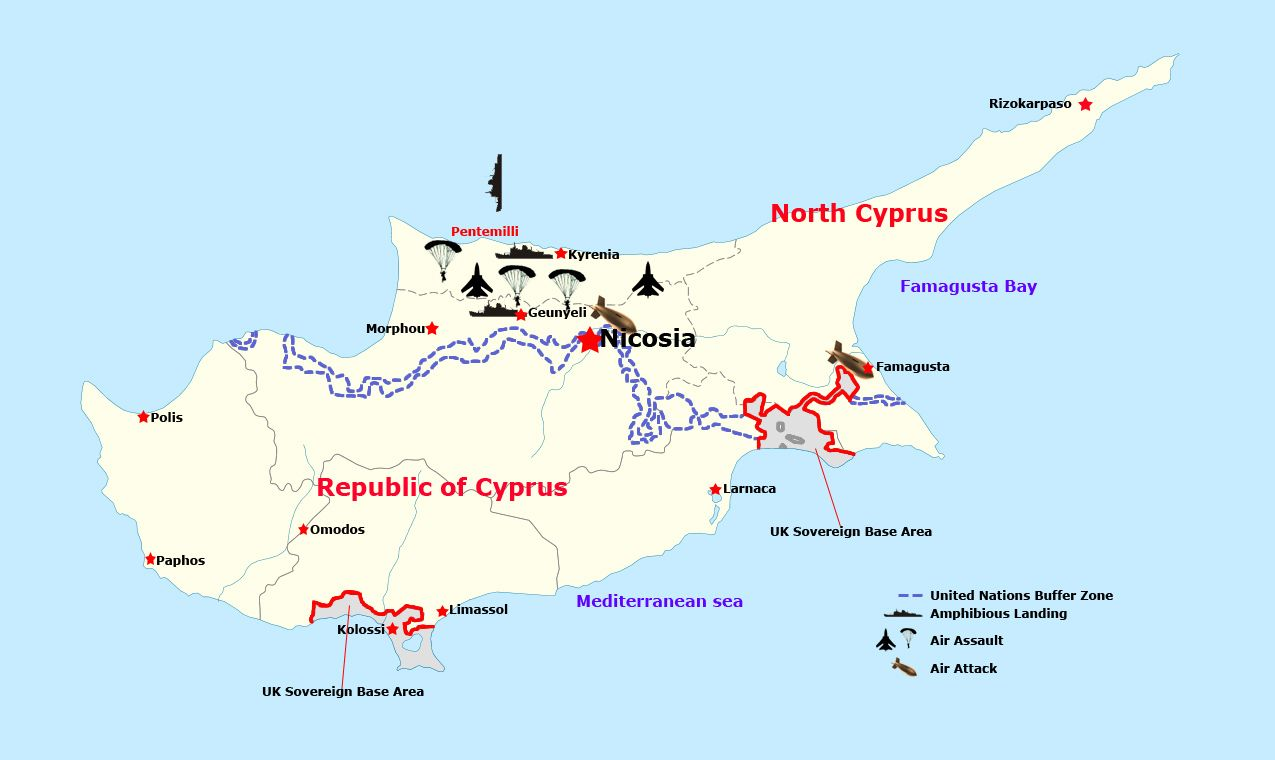 Famagusta location on the cyprus map