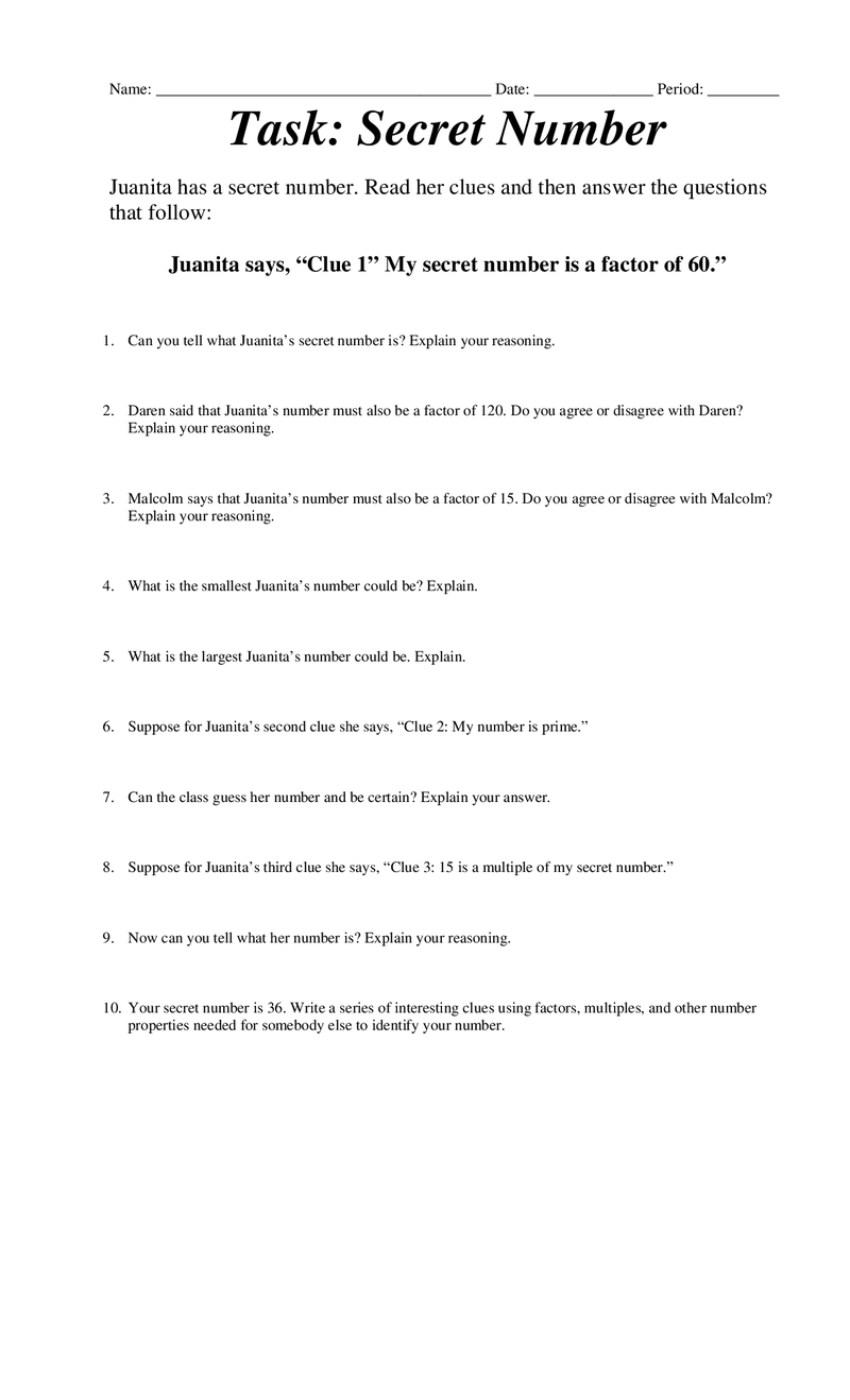 hight resolution of Secret Number.docx   Factors and multiples