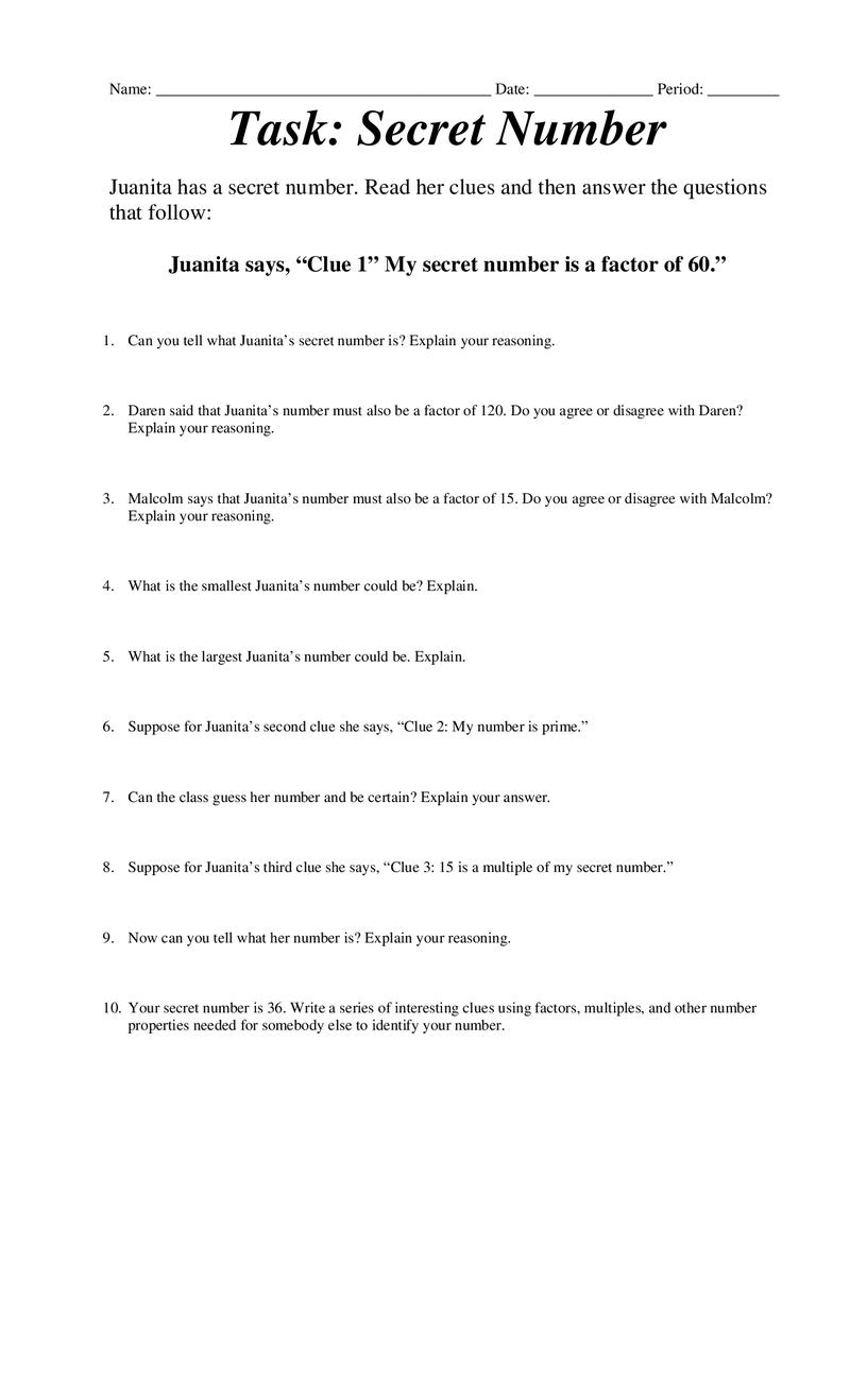 medium resolution of Secret Number.docx   Factors and multiples