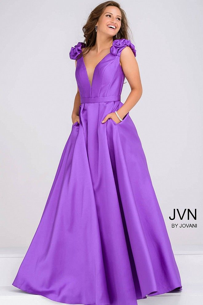 Purple passion in this sleeveless a-line dress with shoulder details ...
