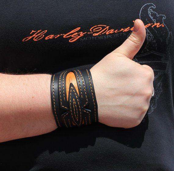 Black Leather Cuff Bracelet Orange Leather by TaurusCustomLeather
