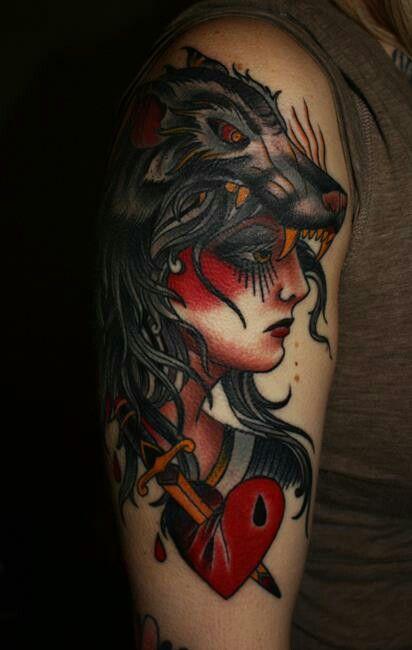 Inked Wolf Oldschool Tattoo Tatuagem Alineymarques Zigeuner Tattoos Traditionelle Tatowierungen Tattoo Armel Frauen