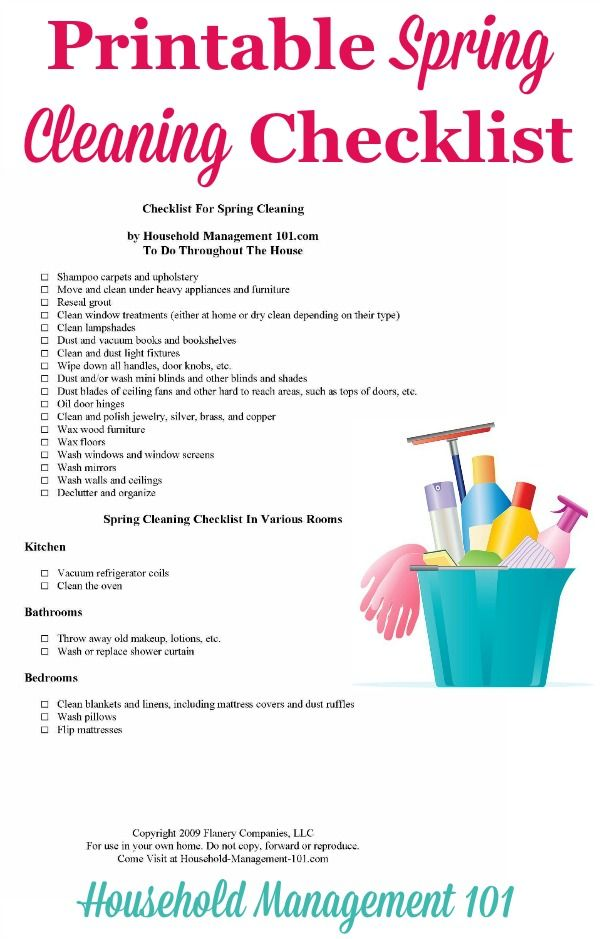 Spring Cleaning Checklist For Your Home {With Free Printable - sample spring cleaning checklist