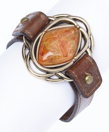 Coral & Bronze Leather Bracelet-also available in turquoise and lime colors