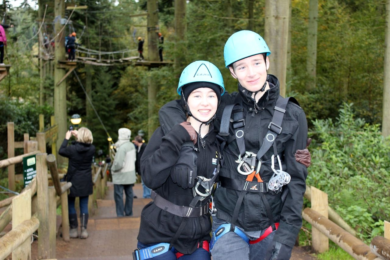 Sneaky picture before high climbing in Centre Parcs with the bro!